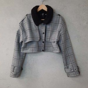 MISSGUIDED 90s Plaid Sherpa Cropped Bomber Jacket